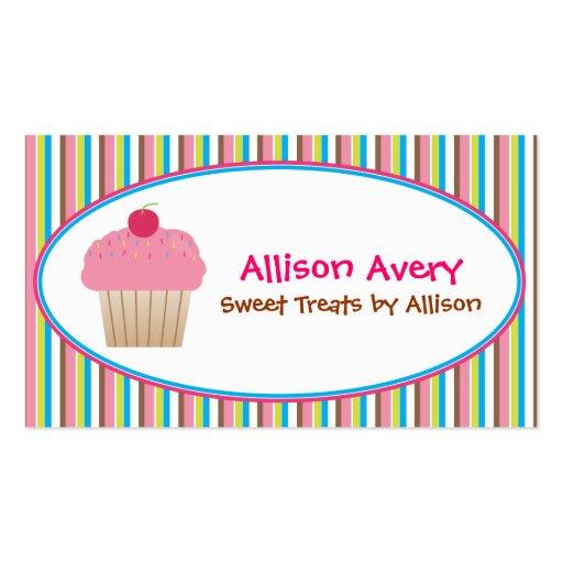 Cartão de visita de chamada listrado do cupcake