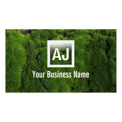 Cartão de visita de jardinagem do musgo verde