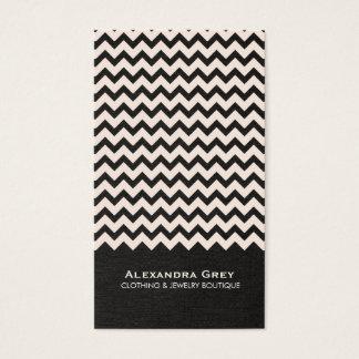 Cartão de visita de linho do preto do ziguezague