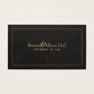 Cartão de visita de linho preto do falso elegante