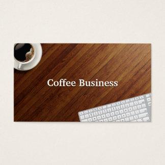 Cartão de visita de madeira do café do fundo do
