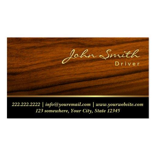 Cartão de visita de madeira elegante do motorista