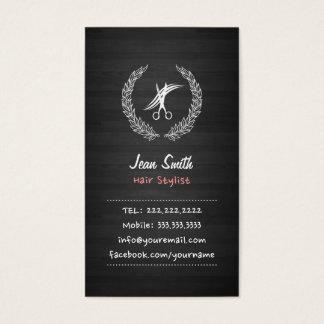 Cartão de visita de madeira escuro do cabeleireiro