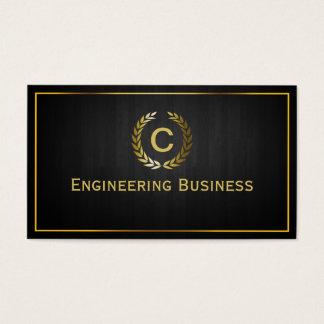 Cartão de visita de madeira escuro do engenheiro