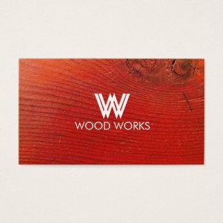 Cartão de visita de madeira vermelho