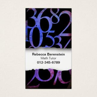Cartão de visita de papel rasgado números do azul