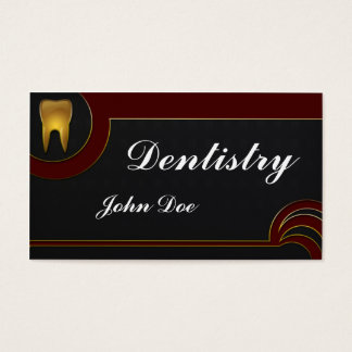 Cartão de visita dental do dentista dourado
