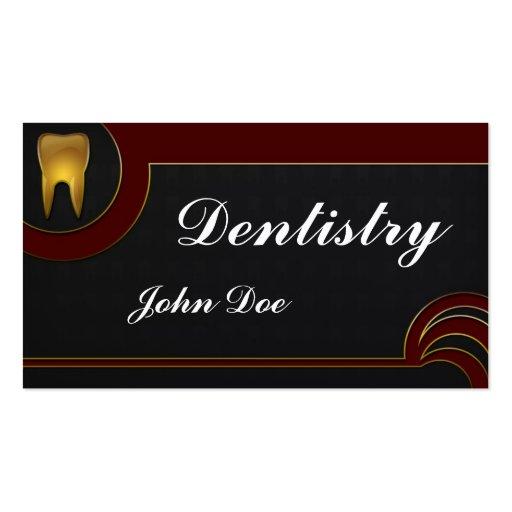 Cartão de visita dental do dentista dourado elegan