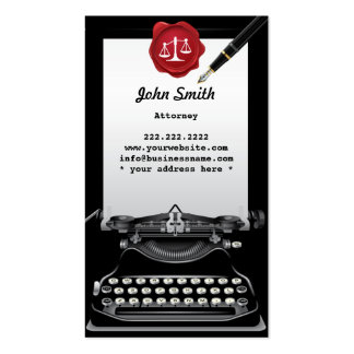 Cartão de visita do advogado da máquina de escreve