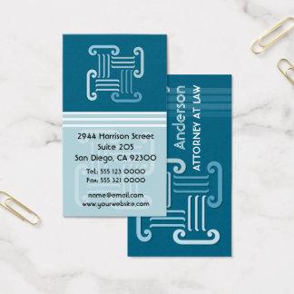 Cartão de visita do advogado das colunas do grego