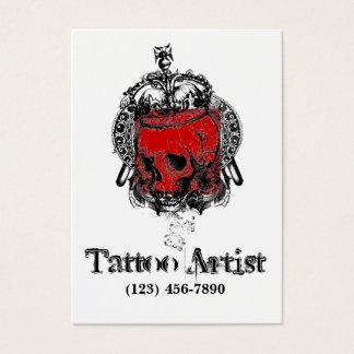 Cartão de visita do artista do tatuagem do crânio