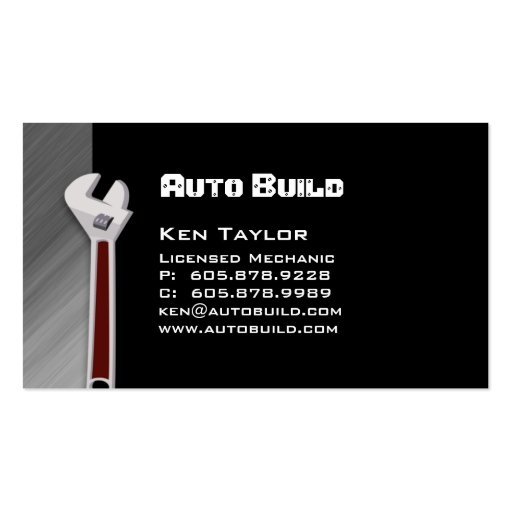 Cartão de visita do automóvel/auto mecânico