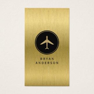 Cartão de visita do avião do ouro do falso