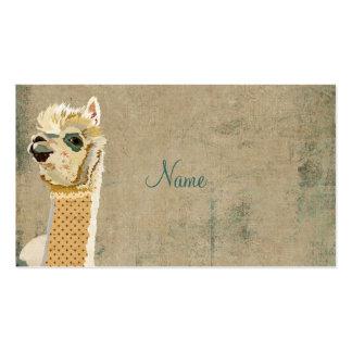 Cartão de visita do azul da alpaca do vintage