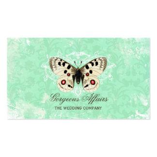 Cartão de visita do azul da borboleta do vintage