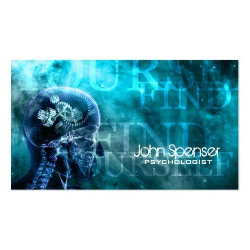 Cartão de visita do azul de Cosmo do psicólogo