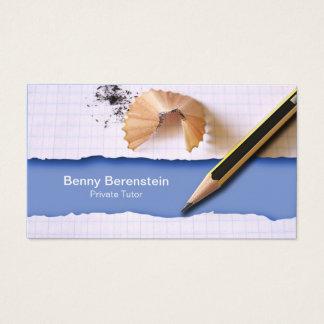 Cartão de visita do azul do tutor privado de