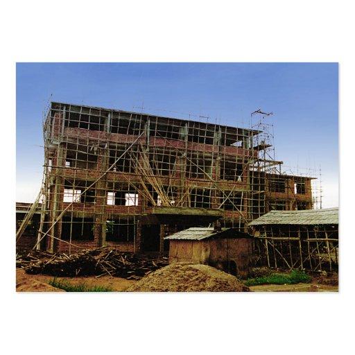 Cartão de visita do bambu do tijolo da construção