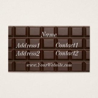 Cartão de visita do bar de chocolate