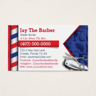 Cartão de visita do barbeiro (pólo do barbeiro -