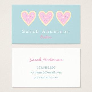 Cartão de visita do biscoito de açúcar do coração