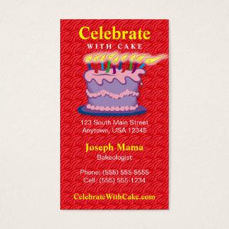 Cartão de visita do bolo de aniversário
