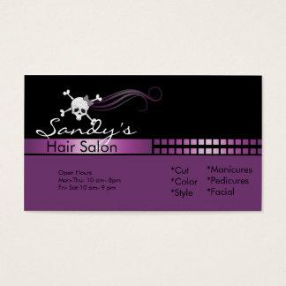 cartão de visita do cabeleireiro do crânio