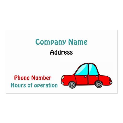 Cartão de visita do carro