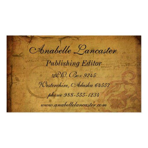 Cartão de visita do cartão do vintage