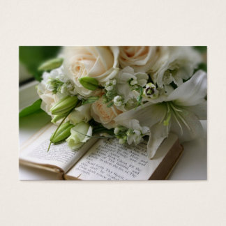 Cartão de visita do casamento com buquê