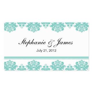 Cartão de visita do casamento tema damasco do Aqua