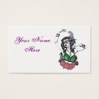 Cartão de visita do cigano do crânio do açúcar