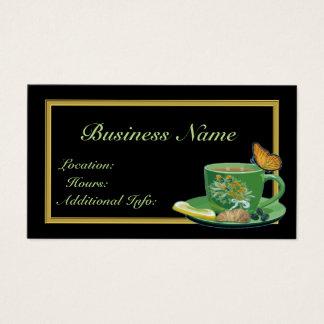 Cartão de visita do copo de café verde & preto