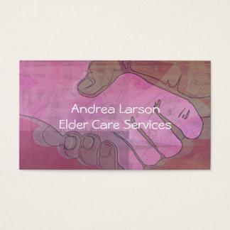 Cartão de visita do cuidador das mãos amiga