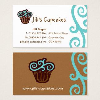 Cartão de visita do cupcake (azul)