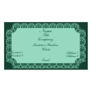 Cartão de visita do damasco do vintage, verde da h