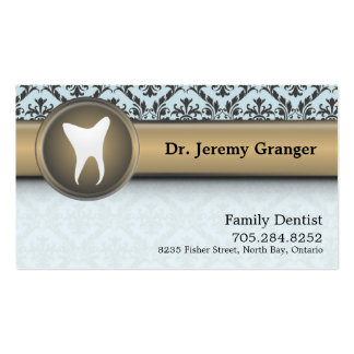 Cartão de visita do dentista - azul & ouro do