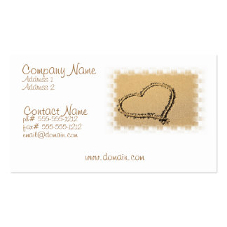 Cartão de visita do desenho do coração do amor