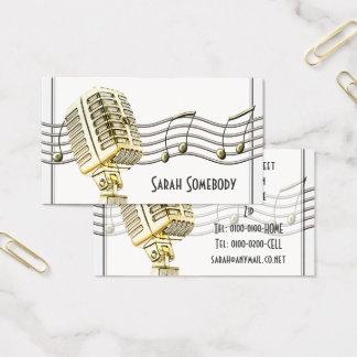 Cartão de visita do design do microfone do vintage