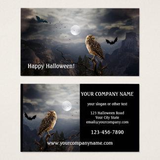 Cartão de visita do Dia das Bruxas da coruja de