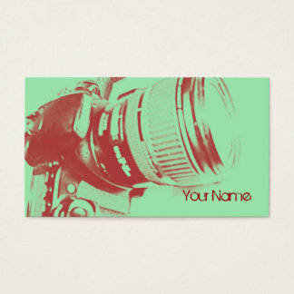 cartão de visita do fotógrafo da câmera da foto