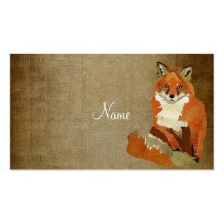 Cartão de visita do Fox vermelho do vintage