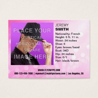 Cartão de visita do Headshot do fulgor do rosa da