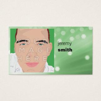 Cartão de visita do Headshot do fulgor do verde da