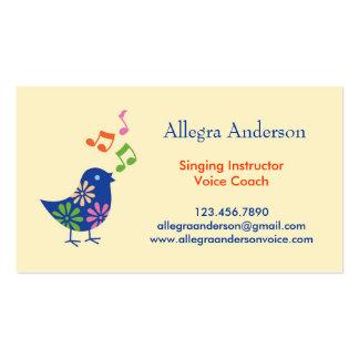 Cartão de visita do instrutor do canto