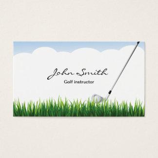 Cartão de visita do instrutor do golfe do céu azul