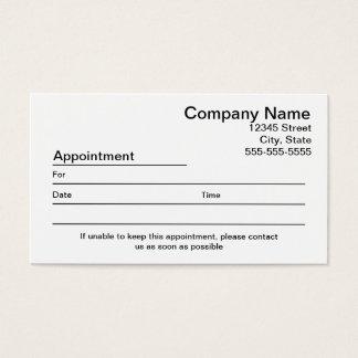 Cartão de visita do lembrete da nomeação