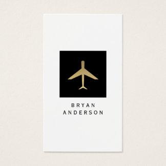 Cartão de visita do logotipo do avião da cor do