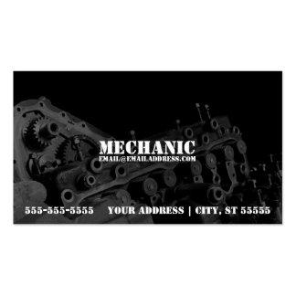 Cartão de visita do mecânico com foto do motor