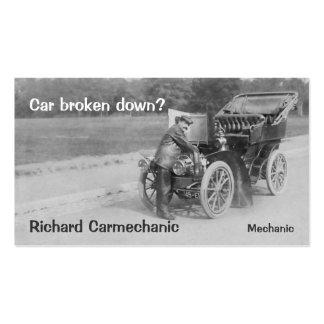 Cartão de visita do mecânico de carro vintage
